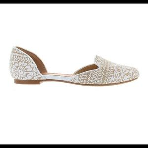 Restricted Glory,  White/Tan Printed Textile Flats